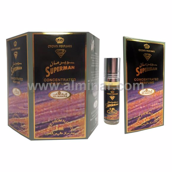 Picture of Box of 6 - Superman Attar 6ml Rollon Bottle By Al-Rehab (UAE)