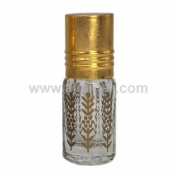 Picture of 12 Pcs of 3ml Clear Octogonal Bottle [Golden Print] [Golden Cap] [Applicator Stick]