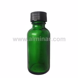 Picture of Boston Round 1 oz Green Glass Bottles With Poly Cone Lined Black Caps